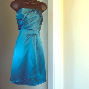 THE LIMITED sz 0 green blue strapless dress